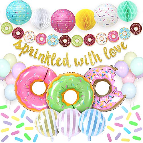 Sweet Baby Co. Donut Sprinkle Baby Shower Decorations Boy or Girl Party Supplies with Sprinkled With Love Gold Banner, Donuts and Candy Stripe Balloons, Backdrop, Garland, Lantern, Honeycomb Balls