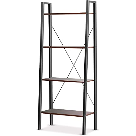 Industrial Ladder Shelf, 4-Tier Bookshelf, Free Standing Bookcase Storage Rack Shelves Plant Flower Stand with Wood Look for Living Room, Bedroom, Kitchen, Bathroom, Home Office, Balcony by Pipishell