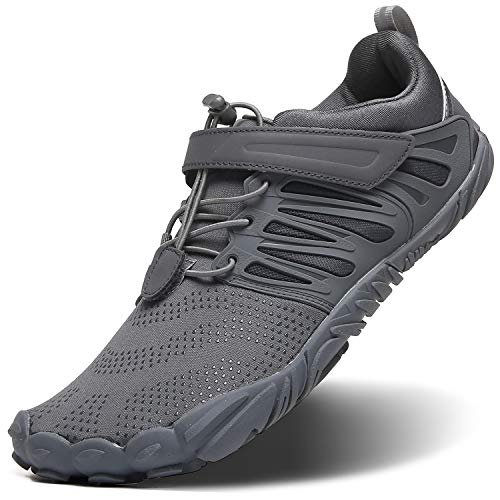 Men's Trail Running Shoes Minimalist Barefoot With Wide Width Toe Box,5 Five Finger Minimus Shoes For Workout Gym Walking Cross Training Zero Drop Male Flats Comfortable,Sneakers All Grey,Size 11