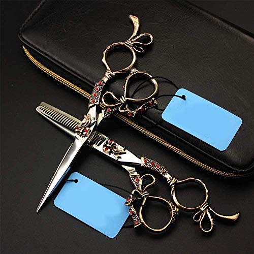 Lionha Professionele 6 Inch Verzorgingsschaar Voor Japanse Hondensnijders 440C Haarknipsel + Dunne Schaar Zwarte Jurk 6 Inch Zilver Set