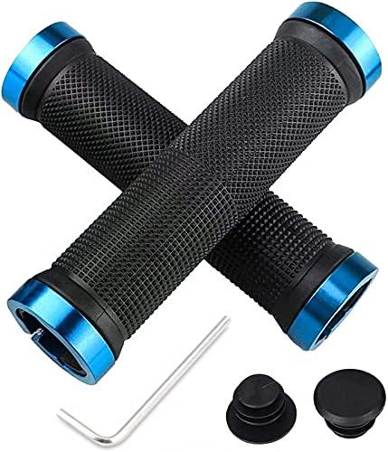 Agarres para bicicletas, apretones de manillar de la bicicleta agarra el manillar de la bici ergonómicos con 2 tapas de los extremos de aluminio estirable, caucho antideslizante agarra MTB BMX(Black)