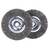 6 inch Wire Wheel for Bench Grinder,Coarse Crimped Wire 0.012-Inch with 1/2'' and 5/8'' Arbor Hole,2PCS