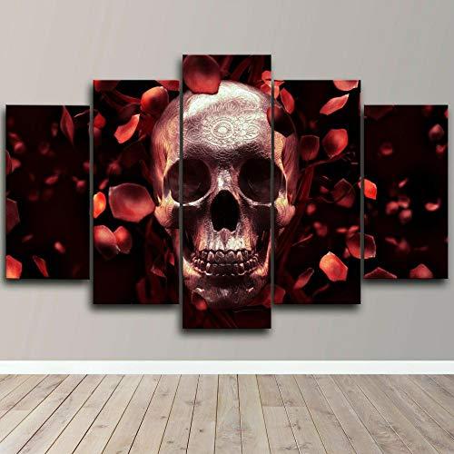 Quadro Moderno Skull Rose Petals Skeleton Stampa su Tela - Quadro x poltrone Salotto Cucina mobili Ufficio casa - Fotografica Formato XXL