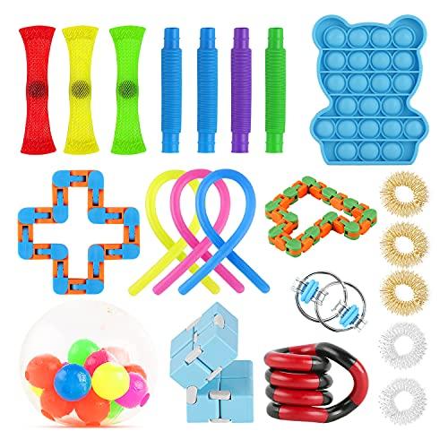 Xpassion Fidget Toy Packs Kit De Juguetes Sensoriales Juguete Antiestres Fidget Sensory Toys para Autismo Necesidades Especiales para Aliviar El Estrés Paquete DE 22 EN Color Aleatorio