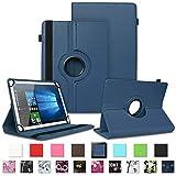 NAUC Schutzhülle kompatibel für Telekom Puls Tablet Tasche Tablettasche Hülle mit Standfunktion 360° drehbar Kunst-Leder Cover viele Universal Tablethülle Hülle, Farben:Blau