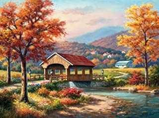 SUNSOUT INC Fall at The Covered Bridge 1000 pc Jigsaw Puzzle