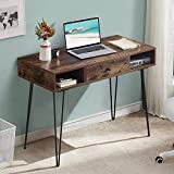 VECELO Computer Home & Office Laptop Table,Study Writing Desk with Drawers Open Shelf Storage Metal Leg,Retro Brown