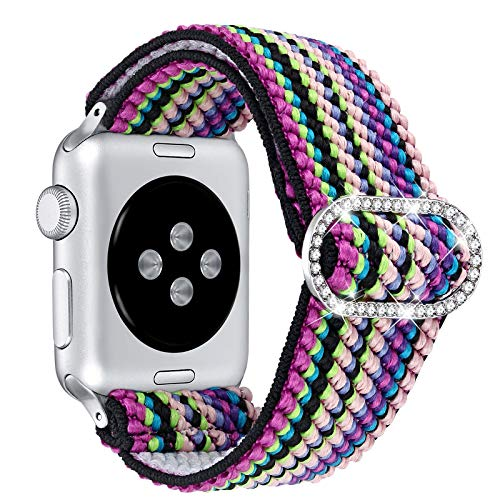 Dilando Compatible with Apple Watch Band Elastic Stretch Loop 38mm 40mm Soft Strap Women Girls Adjustable Bracelet Replacement Wristband for iWatch SE Series 42mm 44mm 6/5/4/3/2/1 (Rainbow, 38mm/40mm)