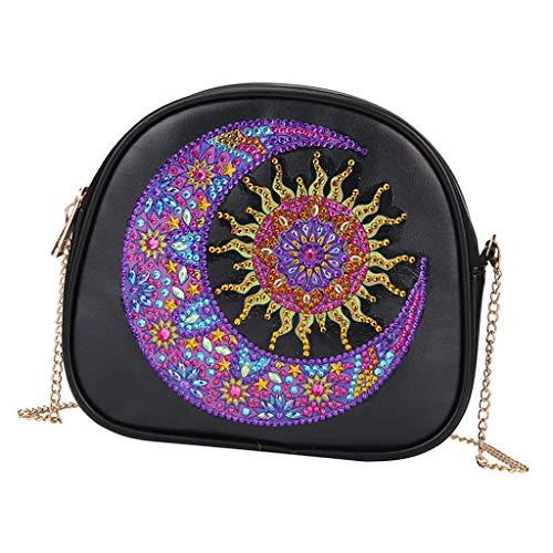 #N/A DIY Diamant Painting speziell geformt Diamant Malerei Tasche mit Ledertasche und mit Digitale Sets für Frauen Mädchen Handtasche - Mond