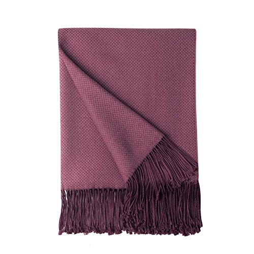 BOURINA Herringbone Throw Blanket Two Tone?Faux Cashmere Lightweight Soft Cozy Couch Bed Chair Fringe Sofa Throw Blankets 125 x 152cm,Burgundy