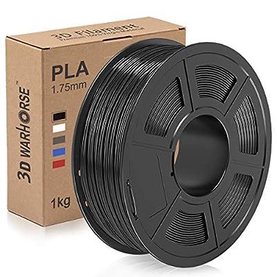 PLA Filament, 1.75mm 3D Printer Filament, PLA 3D Printing 1KG Spool, Dimensional Accuracy +/- 0.02mm, Black