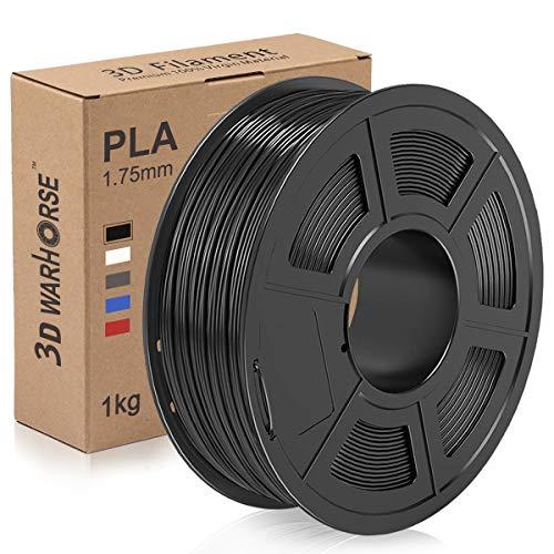 PLA-Filament, 1,75 mm 3D-Druckerfilament, Upgrade 2020 PLA 3D-Druck 1 kg Spule, Maßgenauigkeit +/- 0,02 mm, Schwarz