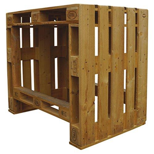 Palettenmöbel Stehtisch Gartentisch Clyde, Neuholz gebeizt in klassischer Paletten Optik, jedes Teil ist einzigartig und Wird in Deutschland in Handarbeit gefertigt