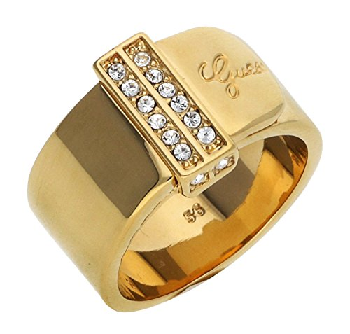 Guess Absolute UBR28512-54 - Anillo para mujer (acero inoxidable, parcialmente dorado, cristal...