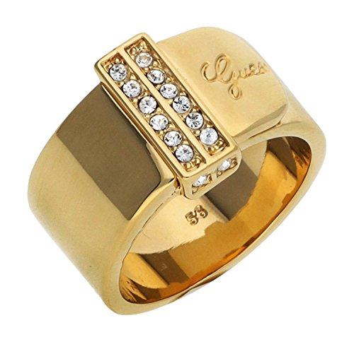 Guess Damen-Ring Absolute Edelstahl teilvergoldet Kristall weiß Gr. 54 (17.2)-UBR28512-54