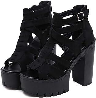 Frauen Sandalen Schuhe Gothic, Sandalen für Frauen mit Absatz 9 10 8 11 7 12 6 8,5, Wildleder Gladiator Rom Schuhe Damen für Party High Heels schwarz