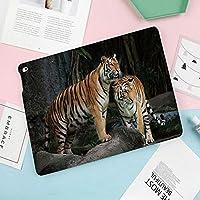 IPad Air2 ケース 軽量 薄型 オートスリープ スタンド機能 ー PUレザー 傷つけ防止 プ iPad Air2専用(モデル番号A1566 A1644)スマートカバー多図的大きな岩の上のジャングルの中で虎カップル自然の中で野生の猫画像