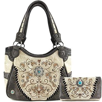 Justin West Concho Floral Embroidered Studded CCW Concealed Carry Shoulder Purse Handbag Wallet (Brown Purse Wallet Set)