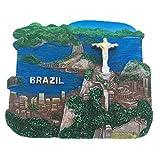 Weekinglo Souvenir Cristo Redentor Rio Brasil Imán de Nevera Resina 3D Artesanía Hecha A Mano Turista Viaje Ciudad Recuerdo Carta Carta Refrigerador