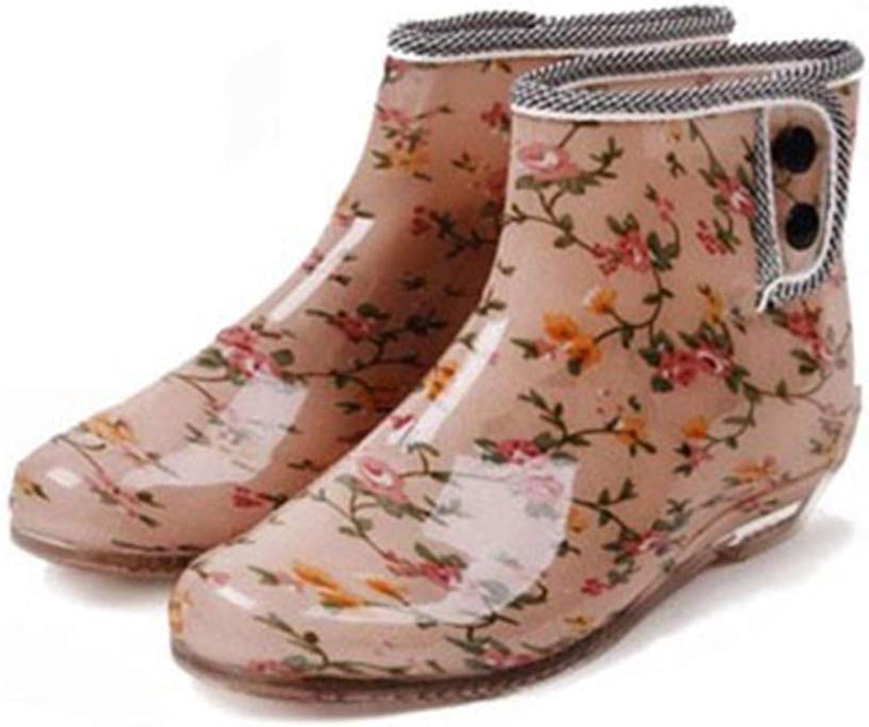 Fancyww Women's Jelly Rain Boots Garden Buckle Slip Water shoes