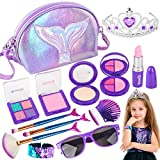 Makeup Kit for Girls-Mermaid Pretend Play Toy Makeup Set for Kids Toddlers with Princess Crown, Purse, Slap Bracelets, Lipstick, Sunglasses, Brush-Perfect Christmas Birthday Gifts for Little Girls