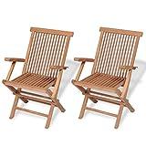 vidaXL 2x Solid Teak Wood Folding Garden Chairs Outdoor Patio Furniture Seat