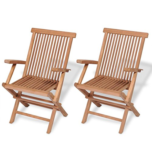 vidaXL 2x Solid Teak Wood Folding Garden Chairs Outdoor Patio Furniture Seat