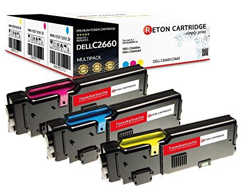 3 Original Reton Toner, kompatibel, nach (ISO-Norm 19798) ersetzen Dell C2660DN C2665DNF Dell C2660 C2665 (593-BBBT / 488NH, TW3NN) (593-BBBS / V4TG6, VXCWK) (593-BBBR / 2K1VC, YR3W3)