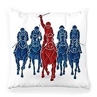 装飾的な投球枕カバースクエア18x18乗馬ブラシ動物のテクスチャブロンコチャンピオンコンペティション群衆ダービー距離家の装飾ジッパー式枕カバーパープル41