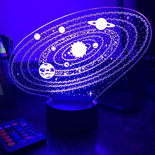 3D Night Lamp Outer Space Solar System Optical Illusion Table Lamp Led Night Light for Christmas Gift