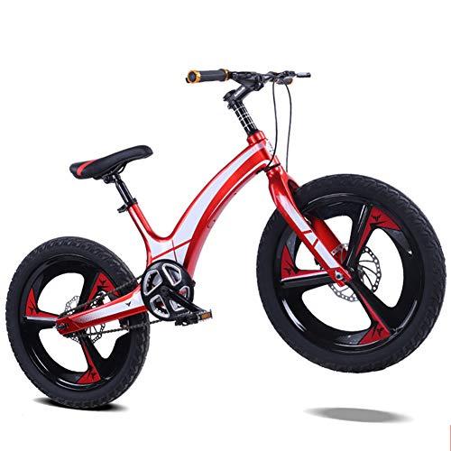 XNEQ 20-Zoll-Rad für Kinder Fahrrad, Junge Bergstudenten Fahrrad, Magnesium-Legierung Gelb/Rot/Blau/Gold, Schnellbremsung von vorne und hinten Scheibenbremsen, ab 8 Jahre,Rot