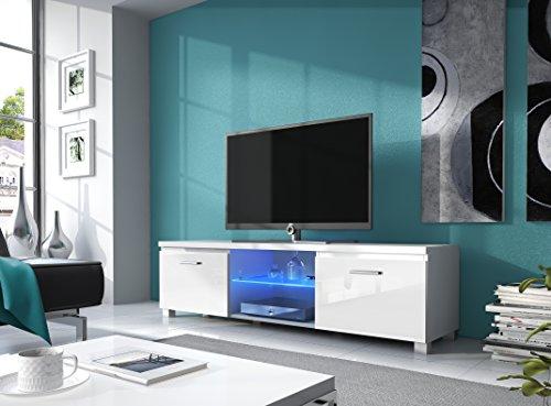 Comfort Home Innovation– Meuble Bas TV LED, Salon-Séjour, Blanc Mate et Blanc Laqué, Dimensions: 150 x 40 x 42 cm de Profondeur.