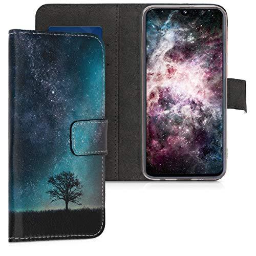 kwmobile Wallet Hülle kompatibel mit Samsung Galaxy A40 - Hülle mit Ständer Kartenfächer Galaxie Baum Wiese Blau Grau Schwarz