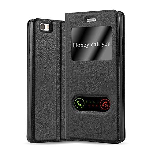 Cadorabo Funda Libro para Huawei P8 Lite 2015 en Negro Cometa - Cubierta Proteccíon con Cierre Magnético, Función de Suporte y 2 Ventanas- Etui Case Cover Carcasa