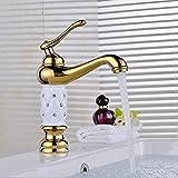 Grifos de lavabo de baño Mezclador de lujo elegante Cristal dorado caliente y agua fría Baño Grifo de lavabo de un solo orificio con mezclador de latón montado en la plataforma de diamante 1044