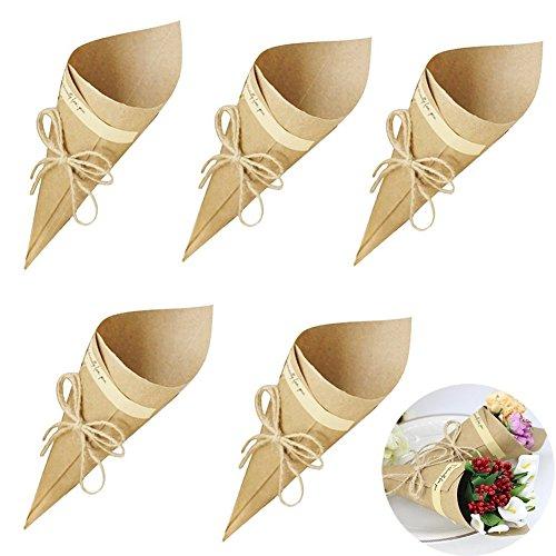 Lot de 100 cônes à dragées en Papier Kraft pour Mariage, baptême, Communion, diplôme, Anniversaire, Noël, Naissance