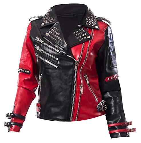 Fashion_First Damen-Lederjacke mit Herz-Motiv, Harley Quinn, Nieten Gr. 52 DE(XXX-Large), Schwarz