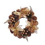 Yideng Ghirlanda di Natale,15.7 pollici/40cm Corona di Abete Rosso con pigne, Bacche d'oro...