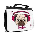 Kulturbeutel mit Namen Sophie und Motiv - Mops mit Kopfhörer pink - für Mädchen | Kulturtasche mit Vornamen | Waschtasche für Kinder