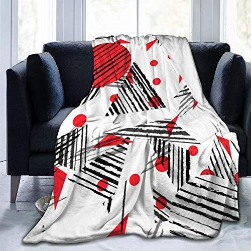 Hoswee Gosiga filtar, överkast ultramjuk fleecefilt abstrakt röd svarta triangeler rund filt varm filt mjuk fleecefilt för soffa resestol – alla årstider premium säng filt 127 x 101 cm