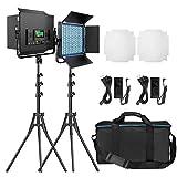 RGB LED撮影ライト, Pixel 2パック 552 LEDビデオライトおよびスタンドキット2600K-10000K CRI 97+調光可能ライト、Uブラケットおよび納屋ドア付きスタジオ撮影およびビデオ撮影用