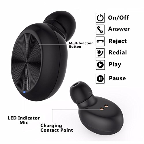 Mini Invisible Wireless Bluetooth 4.1 Earbud Earpiece Earphone with Mic Hands-Free Calls Noice Cancelling for Sports Driving Gym Best for iOS Android iPhone Samsung Black