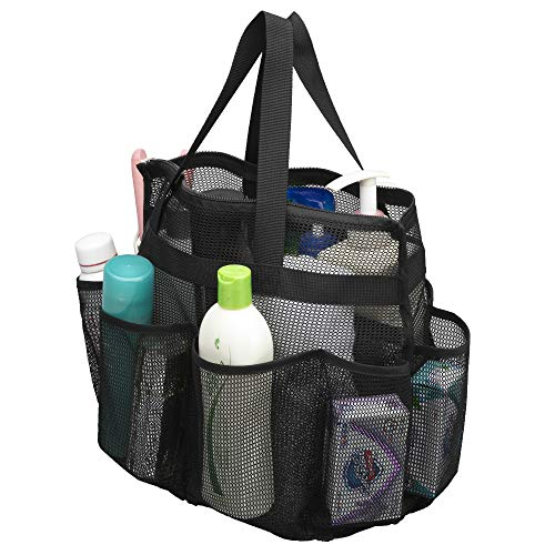 ALYER Large Mesh Toiletry Tote Bag with Separated Inner Compartment,Portable Shower Caddy Bath Organizer with Durable Handles and Zipper (Black)