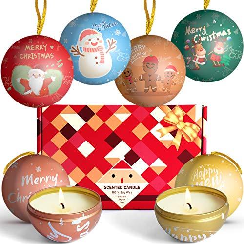 LA BELLEFÉE Candele profumate Candele Natalizie con Cera di Soia Naturale - Confezione Regalo Creativa, Candele Decorate a Forma di Palline di Natale - Durata Ore 6 x 15 Ore
