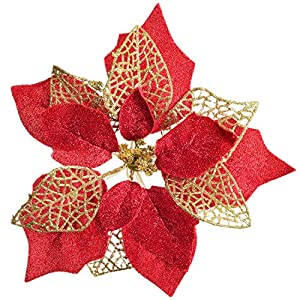 Lvydec 12pcs Christmas Poinsettia Flowers, Artificial Flowers Glitter Poinsettia Christmas Wreath Christmas Tree Ornaments for Christmas Decorations (Red)
