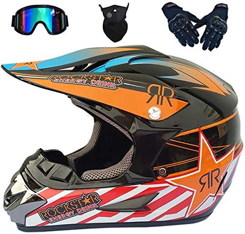 KIVEM Casco de Motocross para Niños - JMY-01 Casco de Moto para Bicicleta de Tierra Eléctrica para Niños, Naranja/Rockstar, Adultos Casco Off-Road Integrales para MTB Motocicleta ATV - S/M/L/XL,S