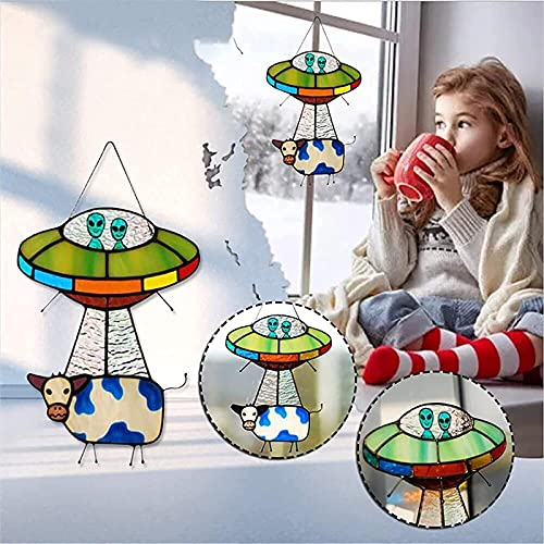 UFO Alien Cow Stained Glass Suncatcher Window Panel,UFO Alien Cow Pendant Ornaments,Creative UFO Cow Abduction Pendant,Painted UFO Pendant,Hanging for Windows Doors Home Decoration (1Pcs)