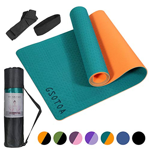 GSOTOA Yogamatte rutschfest, Professionelle TPE Gymnastikmatte für Fitnessstudio, Training und Yoga, 6mm Leichte Hautfreundlicher...