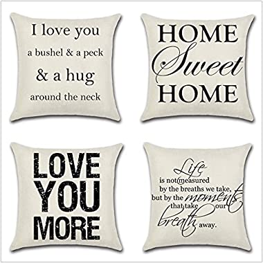 Leaveland Love You Hug Sweet Home Life Quotes Set of 4 18x18 Inch Cotton Linen Square Throw Pillow Case Decorative Durable Cushion Home Decor Sofa Standard Size Accent Pillowcase
