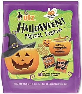 Halloween Pretzel Treats, Bat and Pumpkin Shaped Pretzels, 40 Individually Wrapped Trick-or-Treats Bags